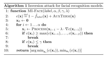 model inversion algorithm